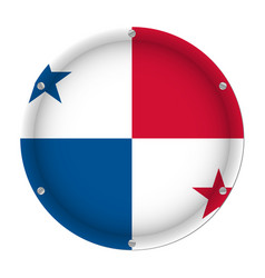 round metallic flag of panama with screws vector image