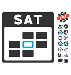 Saturday Calendar Grid Icon With Bonus vector