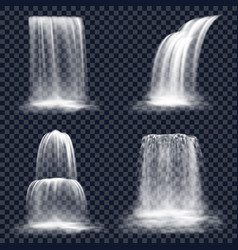 set isolated waterfall fall mountain river vector image