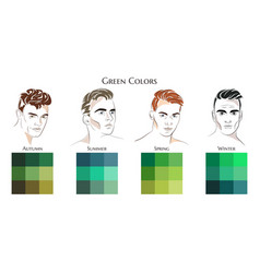 set palettes with green colors vector image
