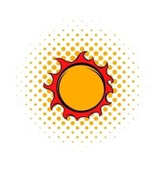 Shiny sun icon comics style vector