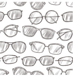 sketch sunglasses seamless pattern hand drawn vector image