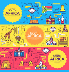 South africa brochure cards thin line set vector