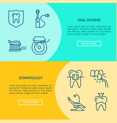 Stomatology and oral hygiene flyer templates in vector