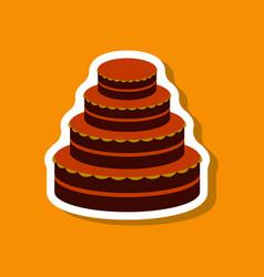 Sweet dessert in paper sticker wedding cake vector