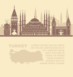 template leaflets with a map of turkey and vector image