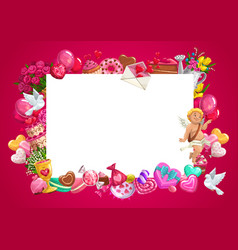 valentines day gifts cupid love hearts frame vector image