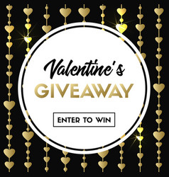 valentines giveaway banner for contest vector image