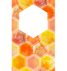 Vertical card with watercolor honeycomb vector