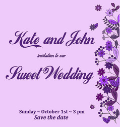 wedding invitation card with flower templates vector image