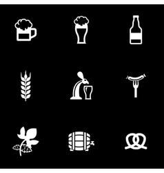 White Oktoberfest icon set vector