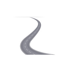 Winding curved speedway with markings vector