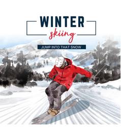 Winter sport social media design with ski vector