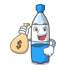 With money bag water bottle character cartoon vector