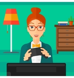Woman playing video game vector image