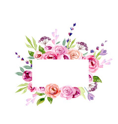 wreath of flowers in watercolor vector image