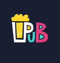 Bright logo pub beer mug of foaming beer on a dark vector