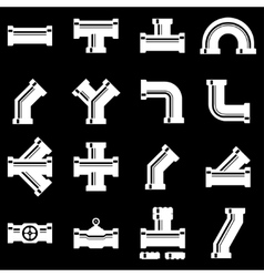 white pipe fittings icon set vector image