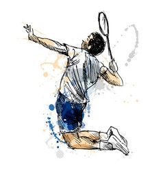 Colored hand sketch badminton player vector image vector image
