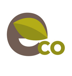 eco sign with leaf vector image vector image