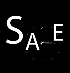 sale inscription with clocks sales event square vector image vector image