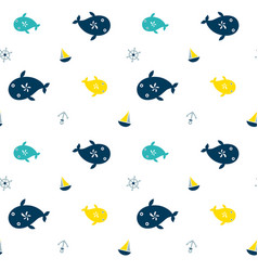 seamless pattern whale vector image vector image