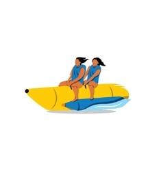 Tourists ride a Banana Boat sign vector image vector image