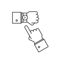 wristwatch on the hand line icon vector image vector image