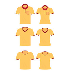 Yellow shirt for men and women vector