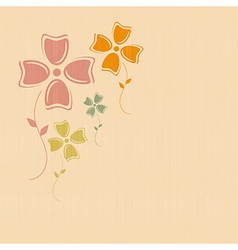 Abstract Retro Flowers on Paper Textile Background vector image vector image