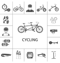 Bicycle Black Icons Set vector image