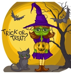 Cartoon witch girl with bat broom and pumpkins vector