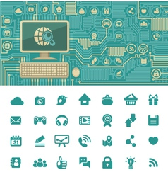 Circuit Board with a Computer and Web Icons vector image