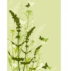 floral background with grass vector image vector image