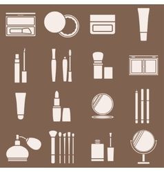 Icons cosmetics in a light beige silhouette vector image
