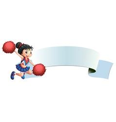 A cheerleader beside an empty space vector image vector image