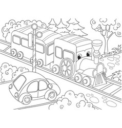 cartoon train train and car coloring book for vector image