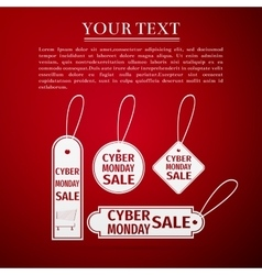 Cyber Monday Sale tag flat icon on red background vector image