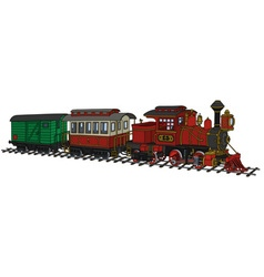 Funy old american steam train vector image vector image