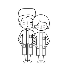 line woman and man doctors with their uniform vector image vector image