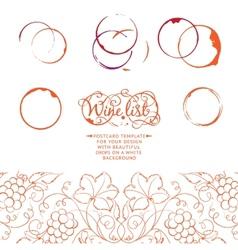Menu design wine list with grape line vector image vector image
