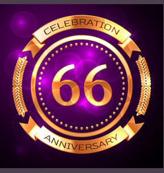 sixty six years anniversary celebration with vector image vector image