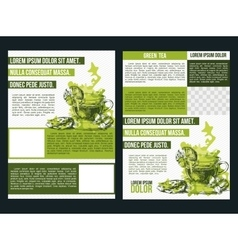 Two flyer green tea vector image vector image