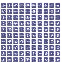100 joy icons set grunge sapphire vector