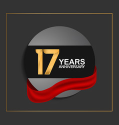 17 years anniversary logotype with golden color vector