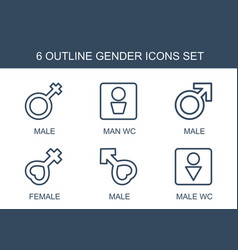 6 gender icons vector