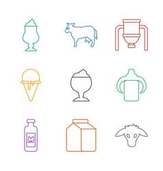 9 milk icons vector