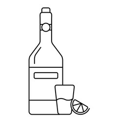 A glass of wine with bottle and lemon vector