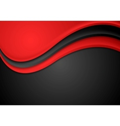 Abstract red and black wavy background vector