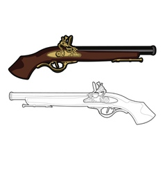 antique musket color cartoon gun vector image